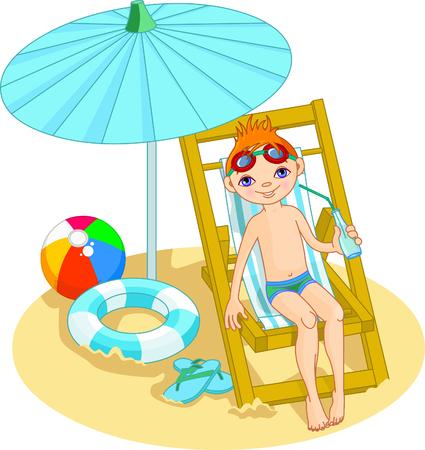 Boy relaxing on the sea beach deck-chair under umbrella