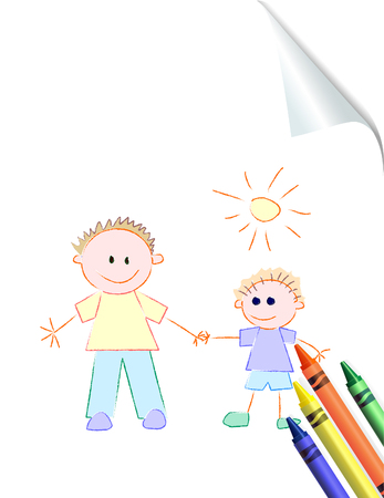 Father and Son drawing and crayons on curled paper Vector