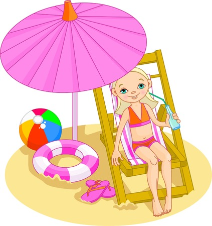 comfortable chair: Girl relaxing on the sea beach deck-chair under umbrella Illustration