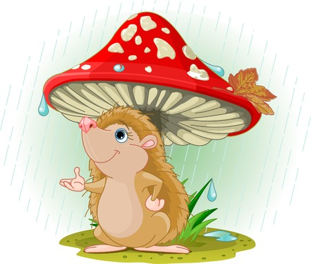 rain drop: Cute Hedgehog wearing rain gear under mushroom