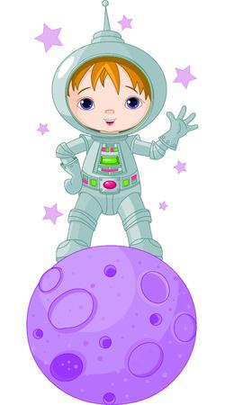 月面、宇宙服を着ている宇宙飛行士少年