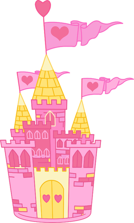 Beautiful Illustration of a Fairy Tale Princess Castle  Vector