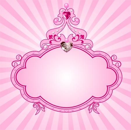 Mooie princess roze frame. Perfect voor mooie meisjes  Stock Illustratie