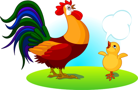 The mighty father rooster crows, and the little chick son imitates.  Illustration