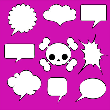 crunches: Comics style speech bubbles  balloons on magenta background