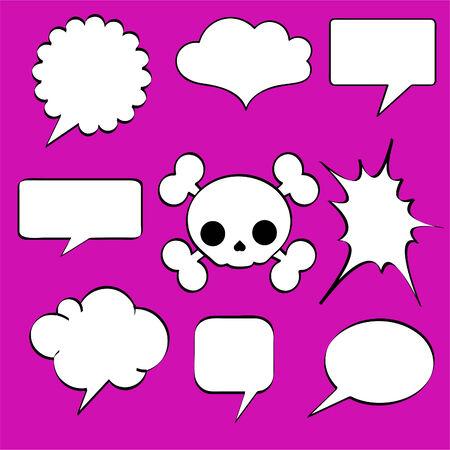 Comics style speech bubbles  balloons on magenta background Vector
