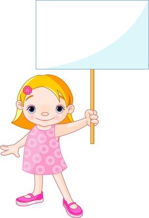 escuela infantil: Niña bonita sosteniendo un signo en blanco para su mensaje  Vectores