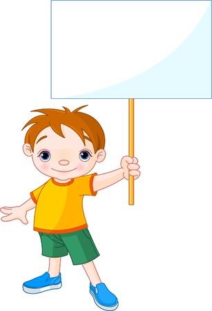 escuela infantil: Niño lindo sosteniendo un signo en blanco para su mensaje