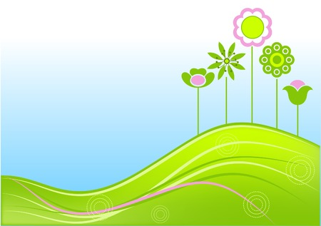 Floral summer background with copy space, global colors. Vector