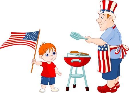 아버지와 아들은 7 월 4 일에 바베큐 그릴에서 햄버거를 요리합니다. 일러스트