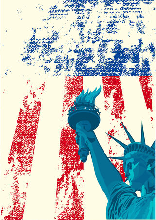 A grunge american flag with the statue of liberty