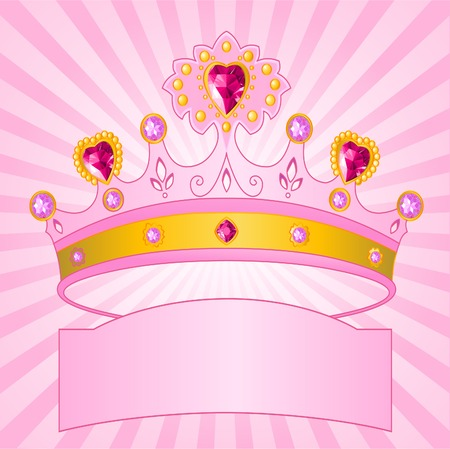 Beautiful shining true princess crown on radial  background Vector