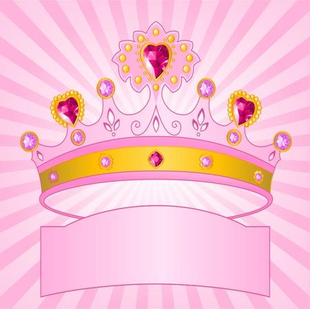 Mooie schijnende echte prinseskroon op radiale achtergrond Stock Illustratie