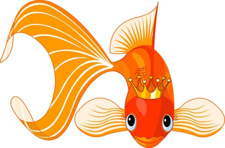 Illustration d'un poisson rouge heureuse belle avec tiare