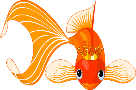 underwater fishes: Illustration of a happy beautiful goldfish with tiara