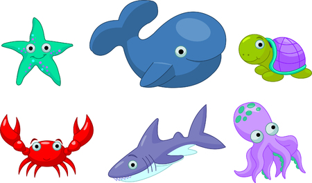 Colorful cute sea creatures - Starfish, Octopus, Turtle, Crab, leviathan, dolphin, shark