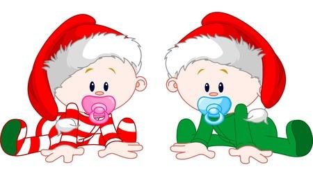 クリスマスの衣装を持つ 2 つのかわいい赤ちゃん  イラスト・ベクター素材