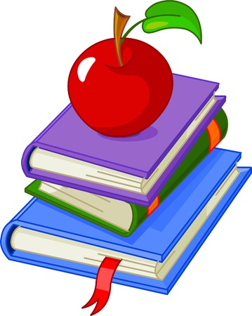 Pile book with red apple illustration, isolated on white background
