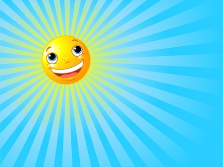 ray of light: A background illustration featuring a happy smiling sun with rays of light beaming