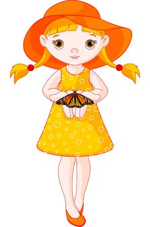 Illustration de la jolie petite fille avec papillon.  Banque d'images - 7082973