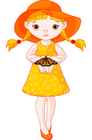 one girl only: Illustration of cute little girl with butterfly.