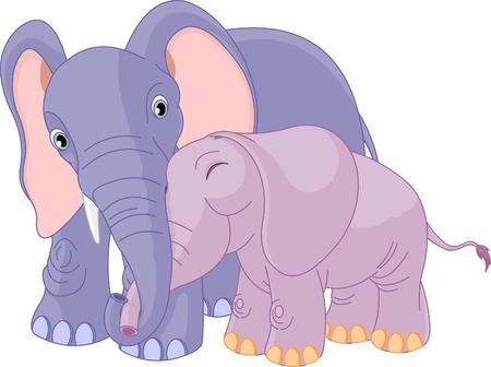 그의 아기를 포옹하는 아버지 코끼리의 그림