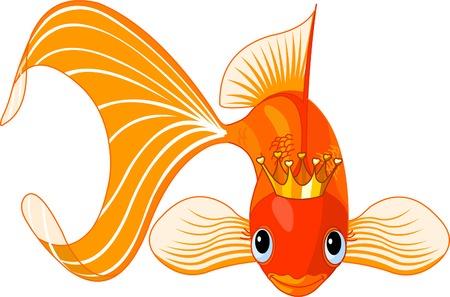 Illustration d'un poisson rouge heureuse belle avec tiare Vecteurs