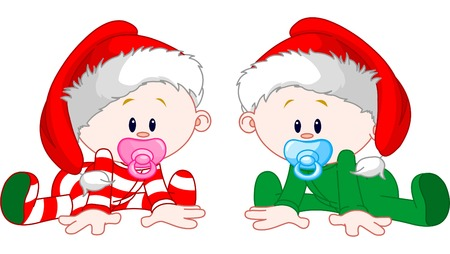Two cute babies with Christmas costumes Vector