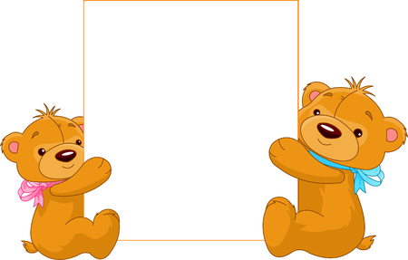 Illustration of two cartoon Teddy bears holding a blank sign ready for you to input text of your choice Çizim