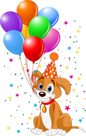 cartoon dog: Cute Puppy with birthday balloons and party hat