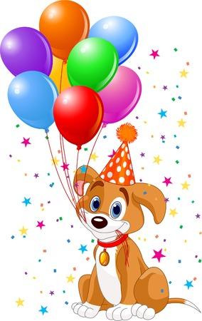 verjaardag ballonen: Schattige Puppy met verjaardagsballons en feest hoed Stock Illustratie