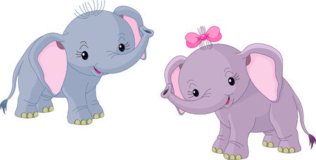 Two Cute Babies elephants  Vector