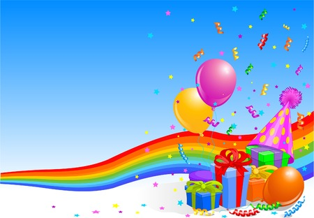 Party balloons and gifts background with rainbow ribbon  Illustration