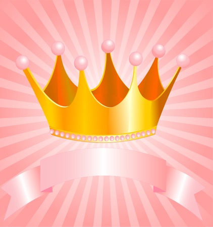 text pink: Beautiful background with crown for true princess Illustration