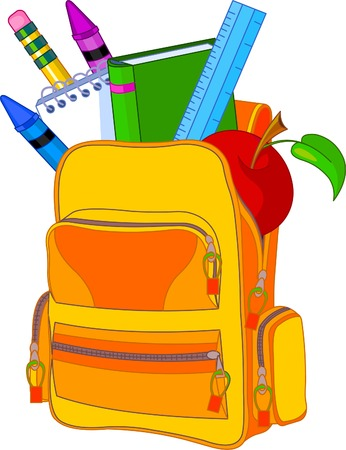 batoh: Back to school image concept. All objects are grouped and layered for easy editing.