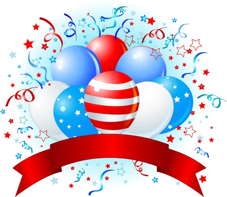 Patriotic American design with balloons, confetti & copy space ribbon.