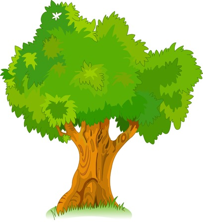 buisson: Grand vieux chêne pour votre conception Illustration
