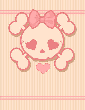 girls with bows: Very cute Skull place card with place for copytext Illustration