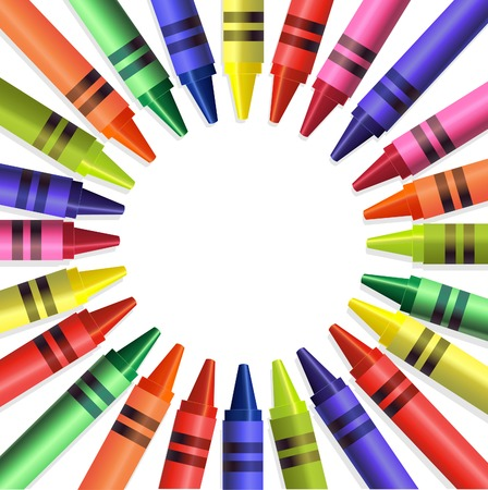 Back to school colored crayons background Stock Vector - 7222723