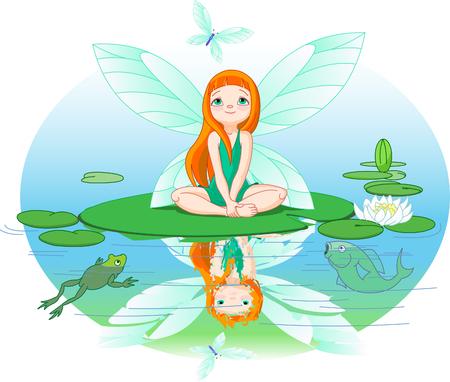 hadas caricatura: Hadas cute Little observa para volar mariposa en hoja de lirio de agua.