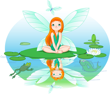 Little cute fairy observes for flying butterfly on Water lily leaf. Vector