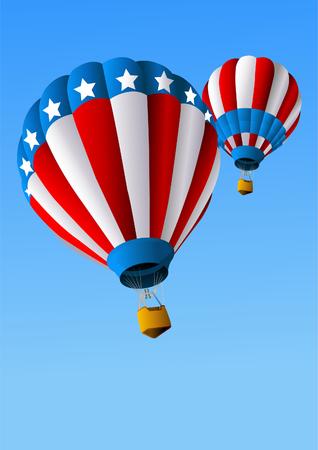 Hete lucht ballonnen van 4 juli in Flight achtergrond  Stock Illustratie