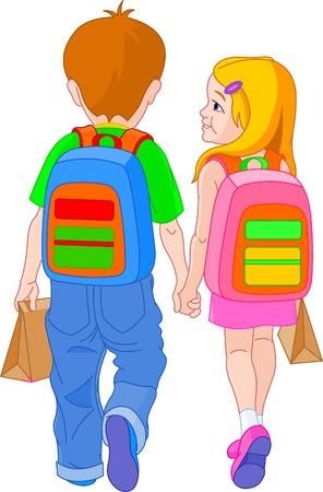 Ilustración de la chica y chico ir a la escuela  Ilustración de vector
