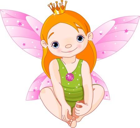 hadas caricatura: Cute sentado poco hadas Princesa con corona