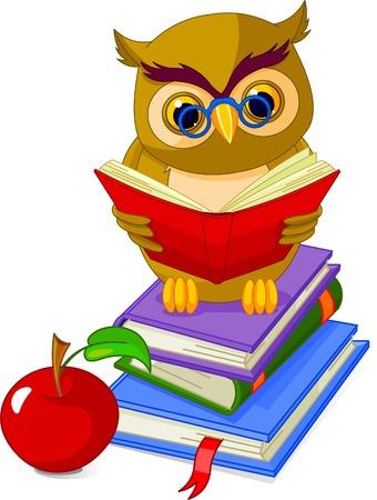 estudiando: Búho sabio de dibujos animados. sentado en el libro de Pile y manzana roja