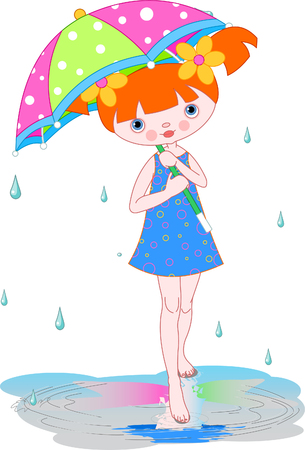Girl under summer rain carrying  umbrella