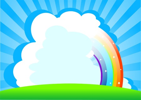 Summer day background with rainbow. Place for copytext Çizim