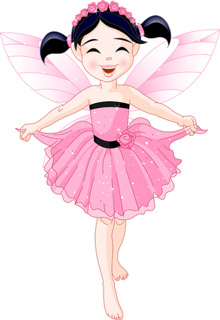 Cute girl with pink dress and artificial wings Vector