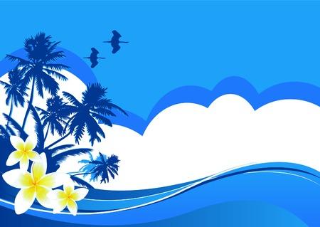 place for text: Fondo de ilustraci�n de playa con tem�tica de verano con lugar para texto  Vectores