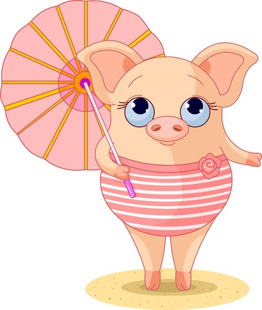 Pig dressed a swimming suite under umbrella